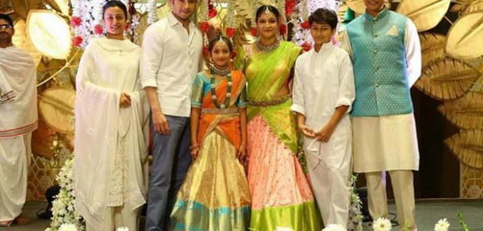 Maheshbabu sister manjula's daughter half saree event pics